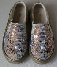 MISSOURI BABY GIRLS GOLD DIAMANTE SLIP ON SHOES EU 26 UK 8.5