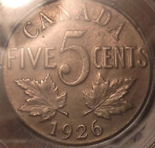 1926 FAR 6 CANADA 5 CENTS CCCS XF-45 SUPER SCARCE !