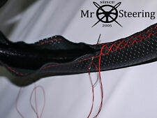 FOR AUSTIN MORRIS MINI PERFORATED LEATHER STEERING WHEEL COVER RED DOUBLE STITCH