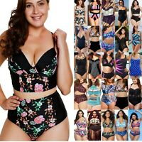 Plus Size Big Women Swimwear Bikini Set Tankini Swimsuit Bathing Swimming Suits