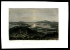 Lake Winnipesaukee New Hampshire birds-eye c.1850 Bartlett hand colored print