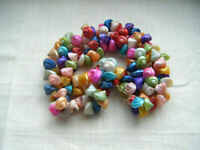 Vintage beautiful multi coloured  trochus sea shells necklace C1950s