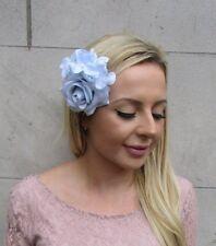 Pale Light Powder Baby Blue Rose Hydrangea Flower Hair Clip Fascinator Vtg 6062