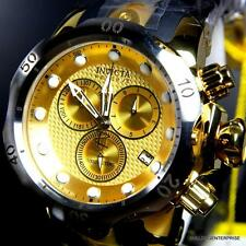 Invicta Reserve Venom Swiss Movt Gold Tone Chronograph Black Rubber Watch New