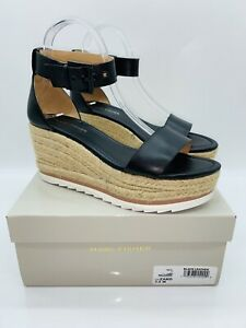Marc Fisher Women's Zako Espadrille Wedges Black Leather US 7.5W