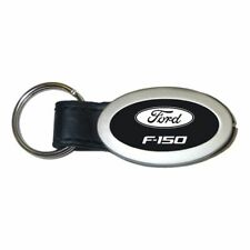 Ford F-150 Key Ring Black and Chrome Leather Oval Keychain