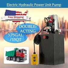 Double Acting Hydraulic Pump 15 Quart 12V Dc Dump Trailer Metal Reservoir