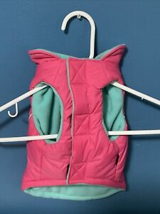 GOOBY DOG JACKET Leash Clip nylon outer fleece inner doggy vest Large pink