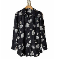 Equipment Daddy Floral Black Cotton Silk Shirt Button-Down Semi-Sheer Medium