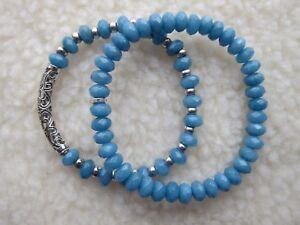Ladies  Men's Aquamarine or Jade Gemstone Beaded Bracelets.