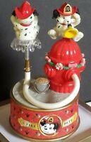 Vintage Enesco Lustre Fame Dalmatian Firefighter Hydrant Music Box