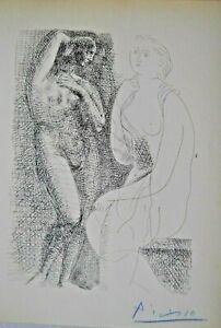 Pablo Picasso Nackte Frau betrachte Statue Handsigniert Suite Vollard Akt Erotik