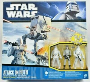 STAR WARS ATTACK ON HOTH AT-ST & E-WEB CANNON SET + 3 FIGURES MISB