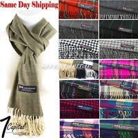 Winter Warm Scotland Made 100% Cashmere Soft  Plaid Scarf Warp Wool High Quality