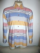 """Ungaro Multi Color Striped Cotton Shirt,Made In Italy,Size 4 (16.5"""")"""