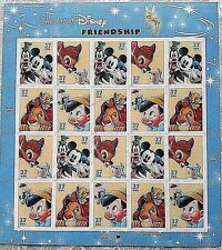 US STAMP SHEET 2004 ART OF DISNEY FRIENDSHIP 20 $.37 LION KING BAMBI PINOCCHIO