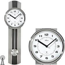 Atlanta 5104/19 Radio Reloj de Pared con Péndulo Plateado H ca 60 Cm