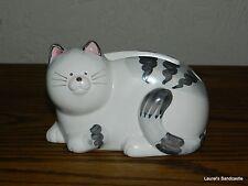 White & Grey Tabby Kitty Cat Note Paper & Pen Holder Ceramic