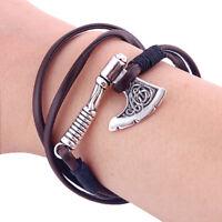 1PC Vintage Silver Viking Slavic Axe Handmade Wrap Leather Rope Bracelet Unisex