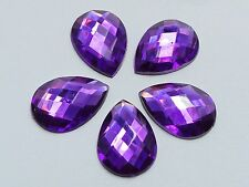 100 Dark Purple Flatback Acrylic Rhinestone TearDrop Gem Beads 13X18mm No Hole