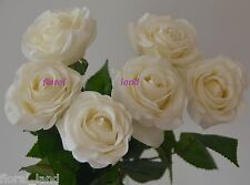 6 X LATEX CREAM REAL TOUCH ROSES ARTIFICIAL WEDDING FLOWERS IVORY ROSE FLOWER