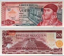 New mexico banknote 20 pesos pick 64d pyramid quetzalcoati j morelos 1977
