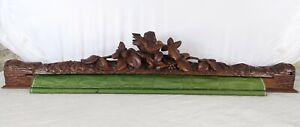 Antique Black Forest Wood Carved Roller Blind Decorative Element-Desk Protection