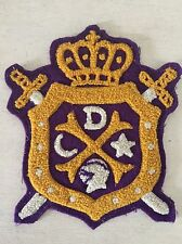 Vtg Antique Coat Of Arms Crest Patch Fraternal? Crown Knight Moon Star Badge
