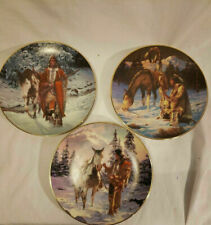 Hamilton Indian Plate Set 3 pc. from The Last Warrior Collection W/ Foam Packing