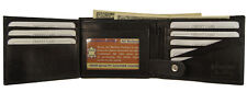 Mens Cowhide Leather 15 Card Slots ID Holder Snap Billfold Passcase Wallet Black