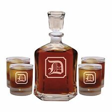 Personalized Whiskey Decanter Set Custom Engraved Monogrammed with Initial