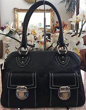 MARC JACOBS Black Pebbled Leather Silver Tone Double Strap Blake Satchel Handbag