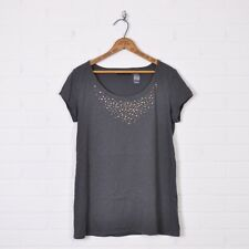 Axcess by Liz Claiborne Gray Studded Beaded Embellished T-Shirt Blouse Top M