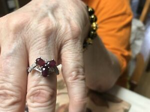 Natural Mozambique Ruby/diamond accents size 7 ring