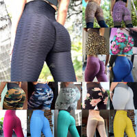 Women's Anti-Cellulite Yoga Pants Push Up Scrunch Sports Gym Fitness Leggings O2