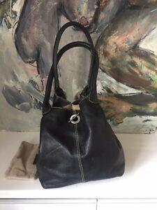 Italian Black Leather Bucket Grab Tote Shoulder Bag - Grainy by Franchetti Bond