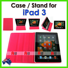 High Quality Leather Case / Stand for The New iPad 3 - Pink Colour