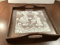 """Wood Serving Tray w/Handles 12""""x 12"""" White Lace Under Glass Boy Girl Kissing"""