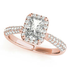 1.41 Carat Etoil Style Radiant Cut Diamond Halo Engagement Ring in Rose Gold
