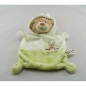 Doudou plat ours déguisé en lapin vert blanc GRAIN DE BLE - Ours Plat / Semi pla