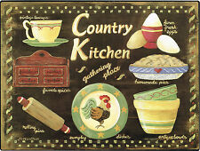 New Country Kitchen Gathering Place Rolling Pins Farm Fresh Eggs Metal Sign