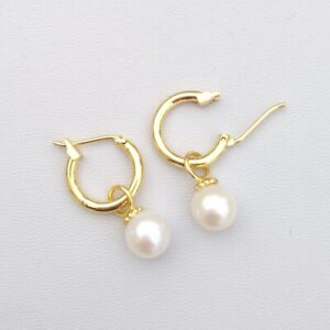 7-8mm natural akoya white AAA round pearl earrings 14k Yellow Gold P Lever Back