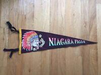 Vtg Niagara Falls Ontario Pennant Felt Banner 1960's Canada Souvenir ON New York