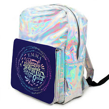 Harry Wizard Bag Girls Shiny Backpack Silver Holographic School ADD NAME KS192