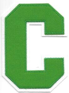 """4 1/2 """" Grand Vert Blanc Bloc Letterman's Lettre C Feutre Patch"""