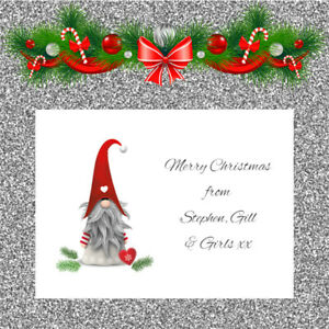 Personalised Christmas Cards x 10 Free Envelopes Family Friends 63