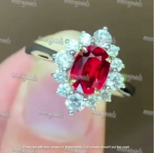 4.20Ct Oval Cut Red Ruby & Diamond Halo Engagement Ring 14K White Gold Finish