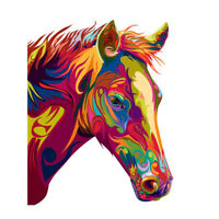 Horse Illustration Swirly Colourful Unframed Wall Art Print Poster Home Decor