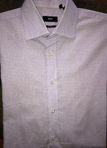 Men's Boss Hugo Boss Long Sleeve Purple Plaid Button Front Shirt 16 1/2 32-33