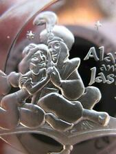 1 OZ..999  VERY RARE  SILVER PROOF COINS DISNEY GENIE ALADDIN JASMINE COA+GOLD